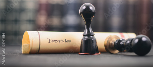 Property law , Notary seal , Legality concept, property law act . Canvas Print