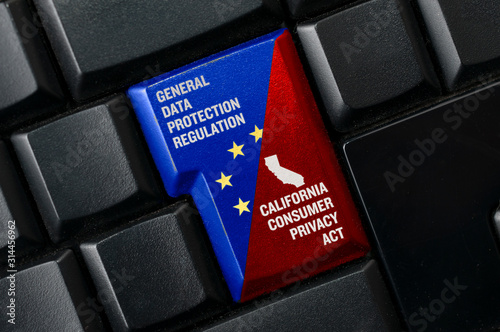 GDPR and CCPA concept: a black keyword with a key with text general data protection regulation and  california consumer privacy act Wallpaper Mural