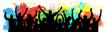 People Celebrate Silhouette. Cheer Youth. Crowd Friends Cheer. Colorful Background Vector Illustration