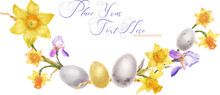 Daffodils And Irises And Bird Eggs Watercolor Easter Arc On A White Background, Traced