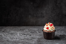 Chocolate Cupcake With Red Hea...