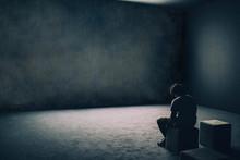 Solitary Depressed Man Sitting...