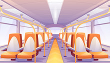 Empty Bus Interior With Orange Seats. Vector Cartoon Passenger Cabin Of Public City Transport With Comfortable Chairs And Handrails, School Autobus, Tram Or Train Inside