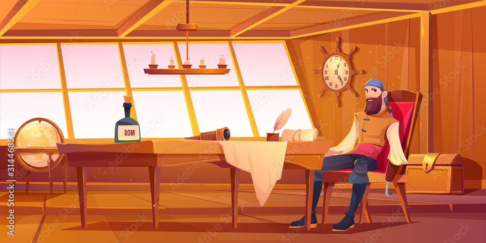 Fototapeta Pirate captain in ship cabin. Vector cartoon illustration of wooden room interior, man with beard and hook instead of hand, treasure chest and table with bottle of rum, map and spyglass