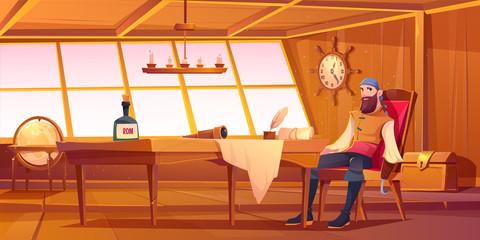 Pirate captain in ship cabin. Vector cartoon illustration of wooden room inte...
