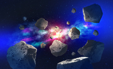 Flying asteroids in outer space. Big bang and meteor shower. Galaxy and Star Trek 3D Illustration