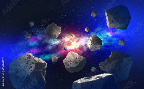 Fotografie, Obraz Flying asteroids in outer space