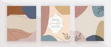 Hand Painted Geometric Covers With Modern Neutral Abstract Artistic Freehand Shapes, Marble Frames. Trendy Backgrounds For Wallpaper, Flyer, Poster, Card, Invitations