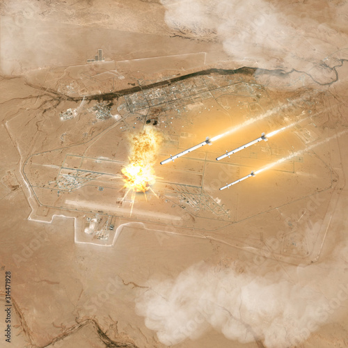 Missile attack, Iranian raid on the US base in Iraq Wallpaper Mural