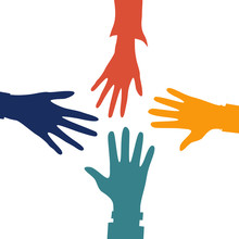 Helping Hands Concept. Four Co...