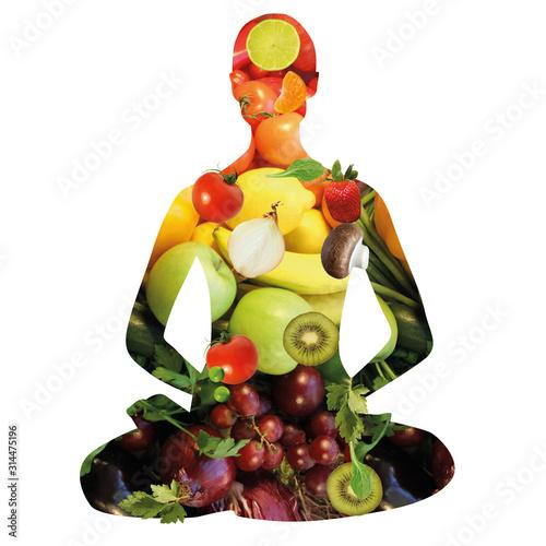 Ernährung, Fitness, Yoga, Lotussitz Wallpaper Mural