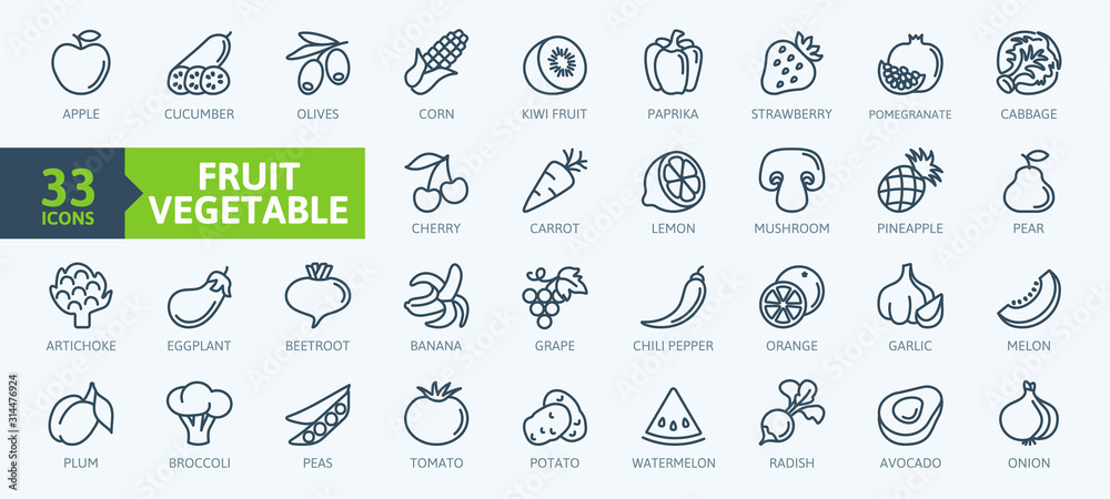 Fototapeta Fruits and vegetables - thin line web icon set. Outline icons collection. Simple vector illustration.