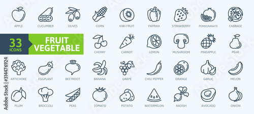 Fruits and vegetables - thin line web icon set. Outline icons collection. Simple vector illustration. - 314476924