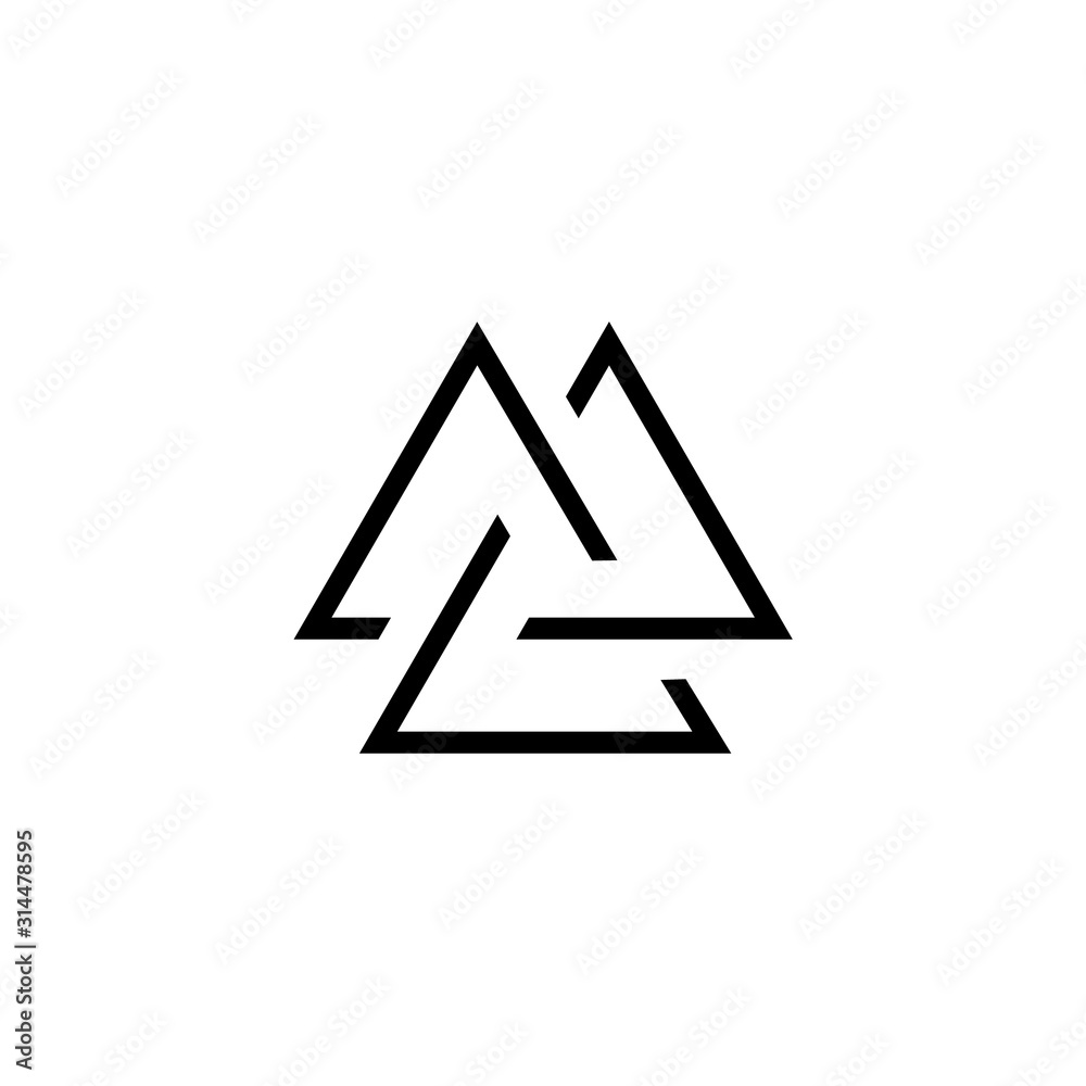 Fototapeta Viking Valknut simple icon. Clipart image isolated on white background