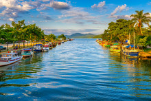 Canal In Historical Center Of Paraty, Rio De Janeiro, Brazil. Paraty Is A Preserved Portuguese Colonial And Brazilian Imperial Municipality. Cityscape Of Paraty