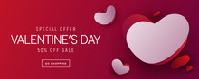 Valentines Day Sale Background With Red And White Hearts. Can Be Used For Wallpaper, Flyers, Invitation, Posters, Brochure, Banners.