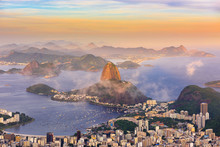 The Mountain Sugarloaf And Botafogo In Rio De Janeiro At Sunset, Brazil