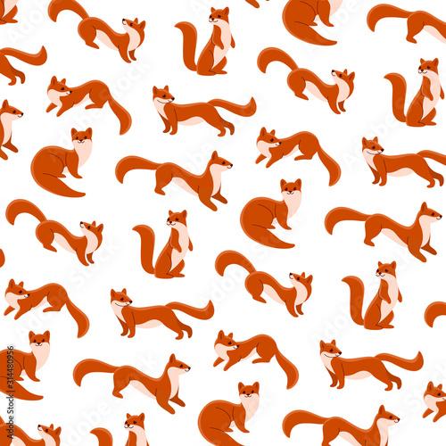 Tableau sur Toile Cartoon happy marten - simple trendy pattern with animal