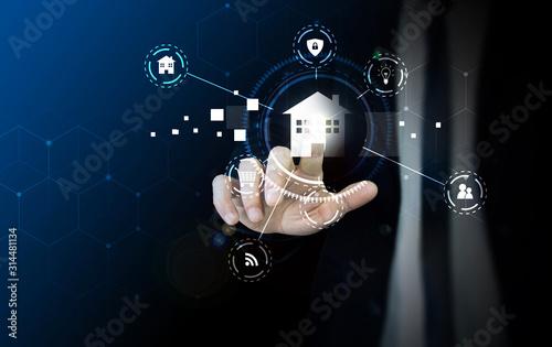 Photo mano, dito, tecnologia, applicazione, immobiliare, casa