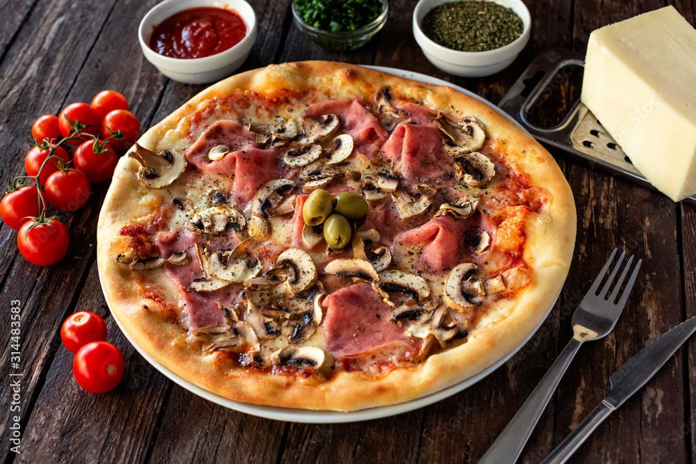 Fototapeta Perfect match of nutritive ingredients in one tasty pizza