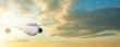 Holidays, vacation and travel background. Plane against skyline