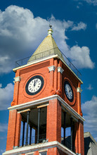 Brick Clock Tower Atop Governm...