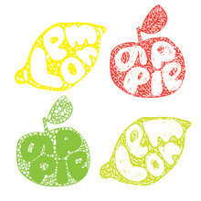 Lemon Typography Retro Silhouette, Great Design For Any Purposes. Cartoon Citrus Fruit Vector Illustration, Silhouette Design. Vector Logo Design. Line Art And Doodle Logo, Icon, Label.