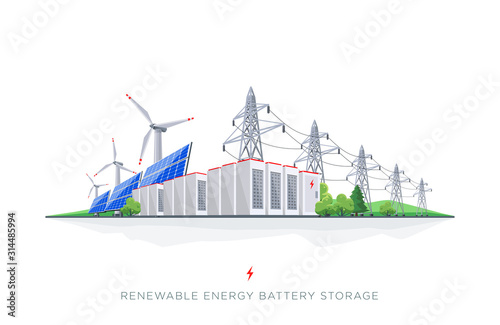 Photo Renewable Solar and Wind Energy Electricity Battery Storage Grid System with Pow