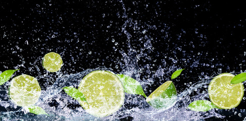 lime in water splash