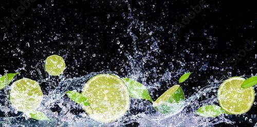 lime in water splash