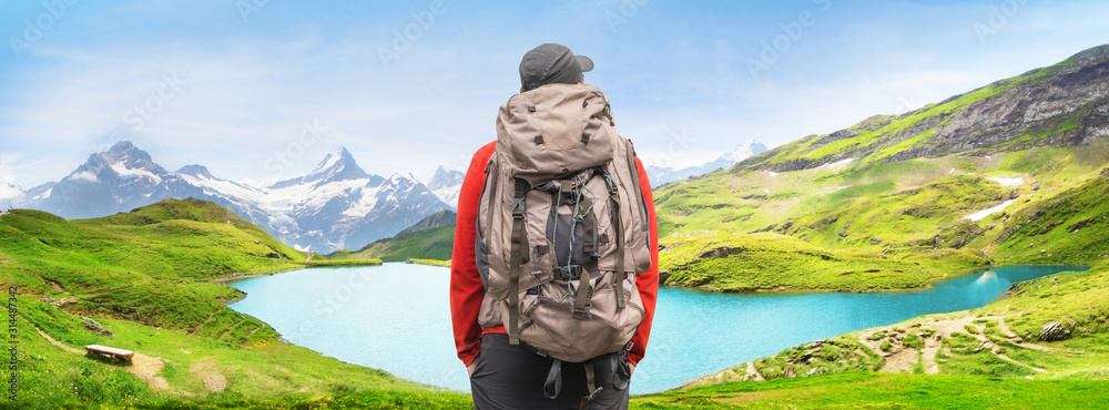 Fototapeta Alpine peaks landskape background. Bachalpsee lake, Grindelwald, Bernese highland. Alps, tourism, journey, hiking concept.