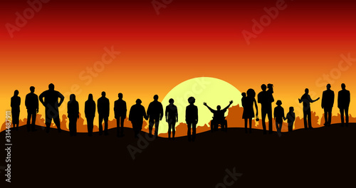фотография Silhouette group of different people standing on top of mountain