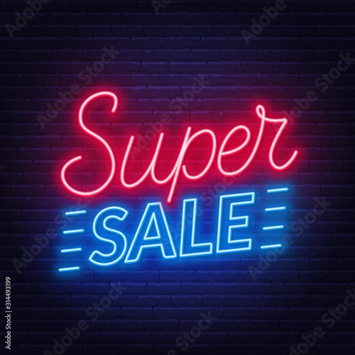 Fototapeta Super sale neon sign on dark background. Template for design. obraz