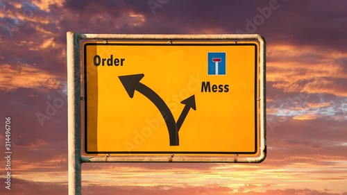 Street Sign the Way to Order versus Mess Fototapet