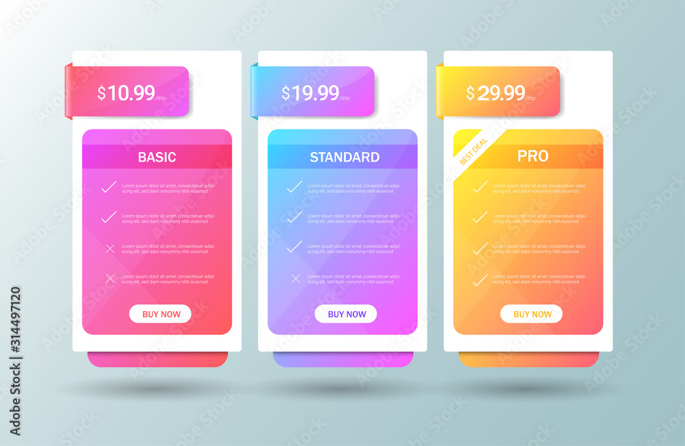 Fototapeta Modern pricing table, plan template . Price list collection for applications or websites. vector illustration.
