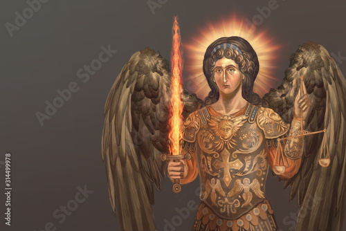 st. archangel Michael with burning sword Fotobehang