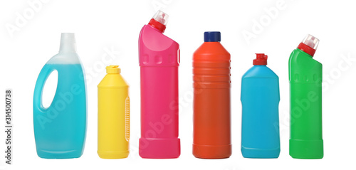Cuadros en Lienzo Set of bottles with detergent isolated on white background