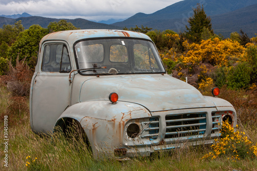 Abandoned oldtimer. Bedford pickup truck. Te Anau New Zealand Wallpaper Mural