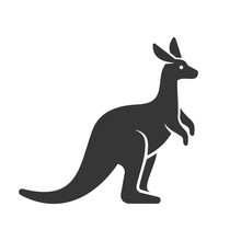 Kangaroo Icon. Logo On White Background. Vector