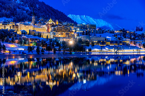 View of St. Moritz in Switzerland at night in winter Tablou Canvas
