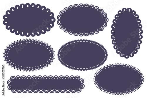 Valokuva vector oval label ornate set