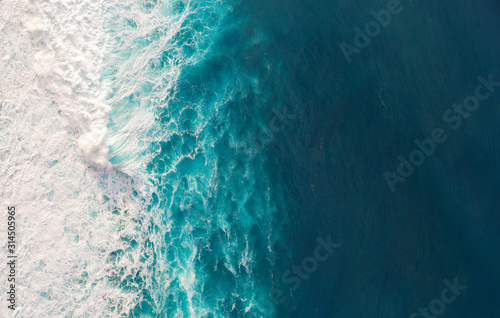 Aerial view to waves in ocean Splashing Waves.