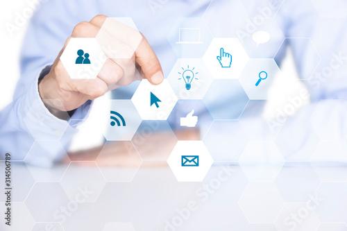 mano, dito, tecnologia, applicazione, informatica Canvas Print