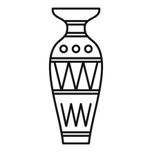 Egyptian Vase Icon. Outline Egyptian Vase Vector Icon For Web Design Isolated On White Background