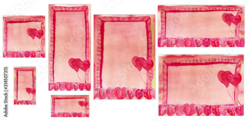 Set of simple watercolor backgrounds with hearts for romantic design. Pink and red patterns of different sizes for Valentine Day or wedding, the concept of love, happy, feelings