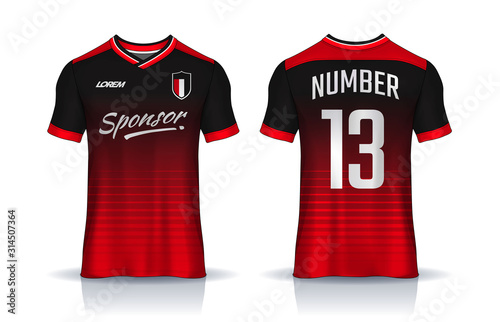 Obraz t-shirt sport design template, Soccer jersey mockup for football club. uniform front and back view. - fototapety do salonu