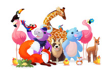 Vector Animal Party Clipart