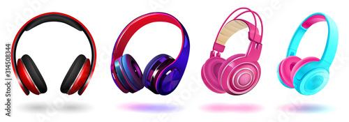 Set of modern professional headphones isolated on white background, realistic vector illustration Obraz na płótnie
