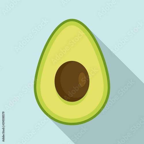 Half avocado icon. Flat illustration of half avocado vector icon for web design