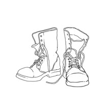 Soldier Leather Army Boot Vector